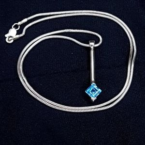 Marquee Topaz 925 Sterling Silver Pendant Necklac